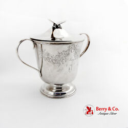 Engraved Covered Cup Gilt Interior Butterfly Finial Vanderslice Co Coin Silver
