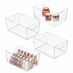 mDesign Cosmetic Plastic Organizer Storage Bin Tote with Handle 4 Pack Clear $34.99