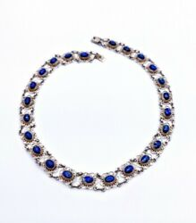 Taxco Vintage Mexico St.silver Natural Lapis Lazuli Filigree Necklace 16.435g