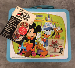 1976 Walt Disney World 50th Sticker Lunch Box And Thermos Unused Nos Hang Tag Mint