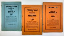 1929 And 1938 Voters List Town Of Bonfield District Of Nipissing Ontario 732a