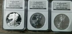 2006 American Silver Eagle 3-coin Set Ngc Ms 69 And Pf 69 Certified 20th Ann