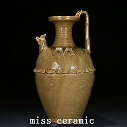 22.4 Old China Porcelain Song Dynasty Yue Kiln Yellow Glaze Chicken Head Teapot
