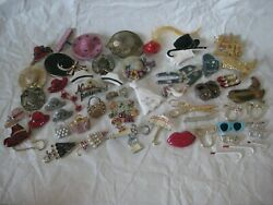 48 Vintage Pins Brooches Gold Silver Hat Boot Purse Glasses Wear Crafts Lot