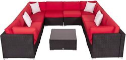 11 Pc Patio Rattan Sofa Set Wicker Chair Sectional Cushioned Furniture Outdoor