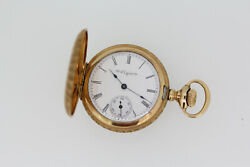 1900and039s Elgin 222 7j 14k Yellow Gold Case Pocket Watch