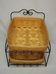 Longaberger Wrought Iron Paper Tray Stand W Tapered And Regular Paper Tray Baskets