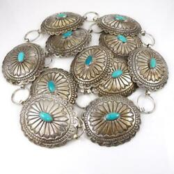 Large Heavy Native American Sterling Silver Concho Blue Turquoise 40 Belt Lja2