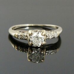 Antique Solid 14k White Gold .58 Ctw Diamond Engagement Ring Wedding Band