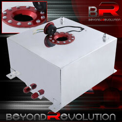 Chrome Aluminum Fuel Cell Tank W/ Red Cap And Level Gauge 40 Liter / 10 Gallon