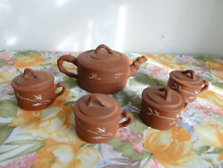Vintage Chinese Red Clay Teapot 4 Mugs Bamboo Shape And Engraved Rare 11pc Set