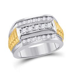 14kt Two-tone Gold Mens Round Diamond Ribbed Band Ring 1 Cttw