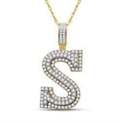 10kt Yellow Gold Mens Round Diamond Initial S Letter Charm Pendant 1-1/2 Cttw