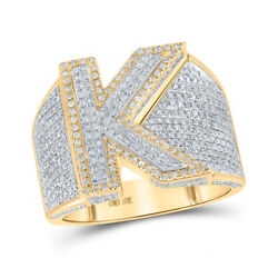 10kt Two-tone Gold Mens Round Diamond Initial K Letter Ring 1-1/5 Cttw