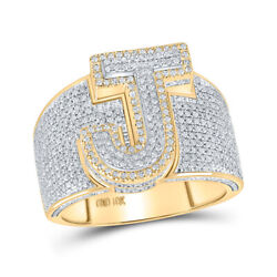 10kt Two-tone Gold Mens Round Diamond Initial J Letter Ring 1-1/5 Cttw