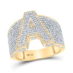 10kt Two-tone Gold Mens Round Diamond Initial A Letter Ring 1-1/4 Cttw