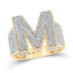 10kt Two-tone Gold Mens Round Diamond Initial M Letter Ring 1-1/5 Cttw