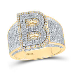 10kt Two-tone Gold Mens Round Diamond Initial B Letter Ring 1-1/5 Cttw