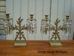 60137 Pair Antique Victorian Candelabra Candle Holder With Prisms Light