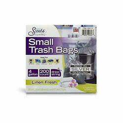 Small Trash Silver Bags 4 Gallon 200 Total Bags Linen Fresh Scent FREE SHIPPING $24.99