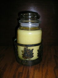 Metal Jar Candle Holder Plate With Leaves Fits Yankee Jar Candles