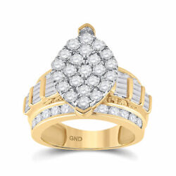 10kt Yellow Gold Round Diamond Oval Cluster Bridal Wedding Engagement Ring