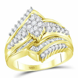 14k Yellow Gold Round Diamond Oval Cluster Bridal Wedding Engagement Ring