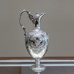 Antique Martin Hall And Co 1868 Sterling Silver Wine Ewer / Claret Jug Sheffield