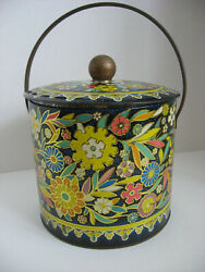 Vintage Storage Tin Canister Handle 6 To 7 Tall Bright Colorful Floral Daher
