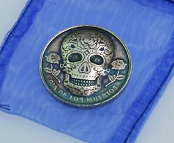 1/2 Ounce .999 Silver Sugar Skull Patina- Antiqued Button With Magnet