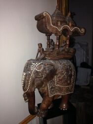 Vintage Solid Wood Carved Elephant From India