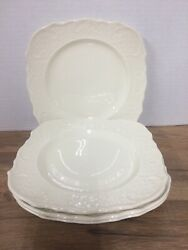 4 Canonsburg Pottery Square Salad Plates American Traditional White