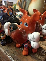 Talavera Mexican Pottery - Animals - Small Dog With Bone Aandh Free Freight