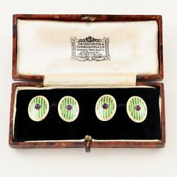 Antique 18ct Gold And Amethyst With Green And White Enamel Suffragette Cufflinks