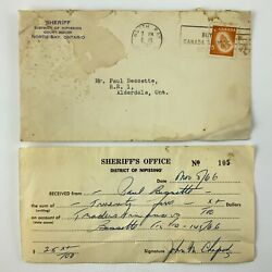 1966 Receipt From Sheriffs Office District Of Nipissing Court House 790a