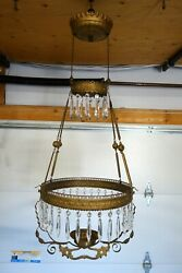 Antique Victorian Hanging Oil Lamp Frame Chain Retractor And Crystal Teardrops