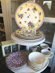 Waverly Garden Room Field Of Flowers Dinner Salad Plates Cereal Bowl Glass Mugs