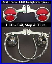 Red Led Stake Pocket Taillights W/ Spikes And Loom Hot Rod Ford Pickup Truck