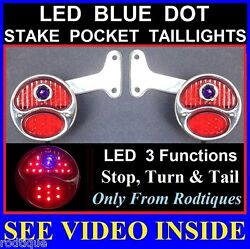 Led Blue Dot Stainless Stake Pocket Taillights Pickup Truck Hot Rod Dodge Ford