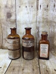 Lot Of 3 Vintage Eli Lilly Pharmaceutical Extract Bottles Amber Glass Cork Tops