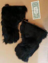 Antique Trapper Stagecoach Driver Black Bear Fur Leather Gloves, Xl