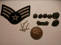 1960's U.s.air Force Collectibles, 10 Photo's, Stripes, Buttons