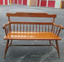 Vintage Ethan Allen Bench 44 Solid Maple Farmhouse Colonial Americana Chair