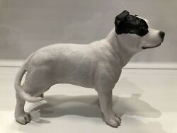 White Staffy Staffordshire Bull Terrier With Black Patch Ornament Figurine Gift
