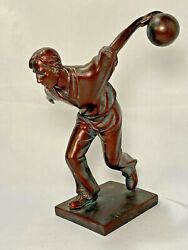 Napco Imports Resin Sports Figurine Bowling Man Bronze Color 7 7/8h X 6w Decor
