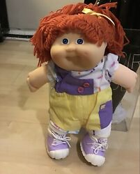 Vintage Signature Cabbage Patch Doll 1984 Org.hair Grn Eyes ,blue Dress Birth C