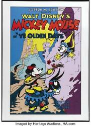 Mickey Mouse In Ye Olden Days Disney 22.5x31 Fine Art Serigraph 1980and039s Rolled