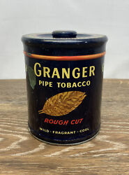 Vintage Blue Granger Rough Cut Tobacco Pipe Tin Can Advertising Stamps