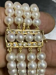 High Grade 6 Mm Pearls Braslate 7andrdquo 41.7 Gram With 14k Sold Gold Diamonds Clasps