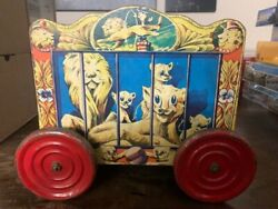 Rare 1950s Gong Bell Circus Wagon Pull Toy Wooden Metal Wheels, Free Shipping